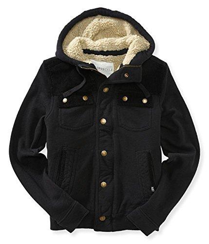 Aeropostale Mens Fleece Lined Field Jacket, Black, X-Small