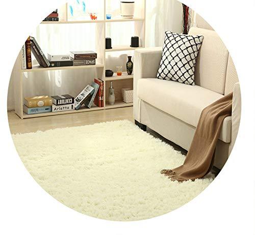 Super Soft Silk Wool Rug Indoor Modern Shag Area Rug Silky Rugs,Beige White,50X120cm