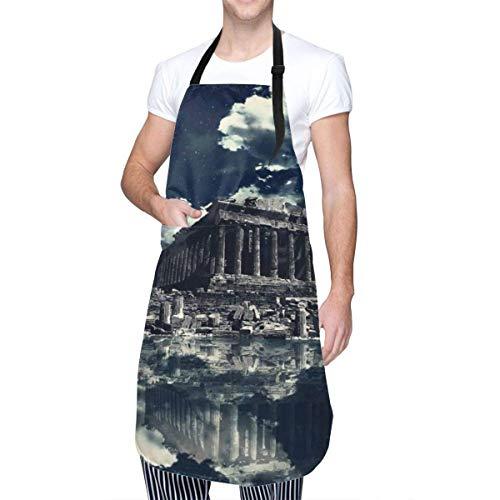 Delantal de Cocina Impermeable, Babero de Cocina Ajustable para Chef, Templo del Partenón, Cuello de luz de Luna, Lazo en la Cintura, Bolsillo Frontal de Canguro