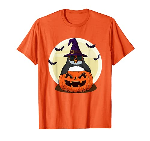 Linda camisa de Halloween Niñas Niños Witchy Penguin Halloween Camiseta