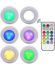 OSALADI LED-skåp belysning touch-sensor skåp nattljus trådlösa vägglampor batteridriven och fjärrkontroll dimbar nattlampa för trappor garderob kök hall 6 delar