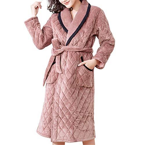JIAGU Camisón Holgado Femenino de otoño e Invierno Acolchado camisón Femenino Franela de Franela de Franela. (Color : Brown, Size : 3XL)