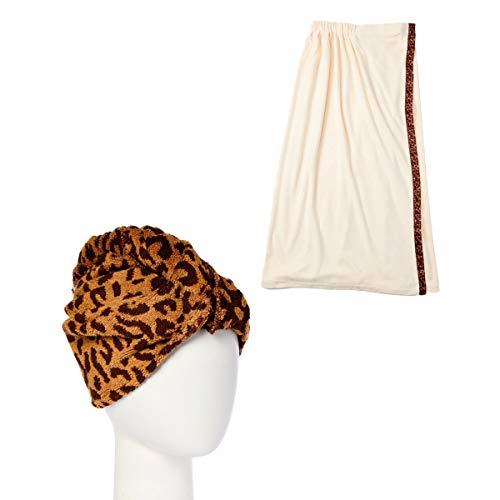 Turbie Twist Cotton Hair Towel & Bath Wrap Combo Pack (Leopard)
