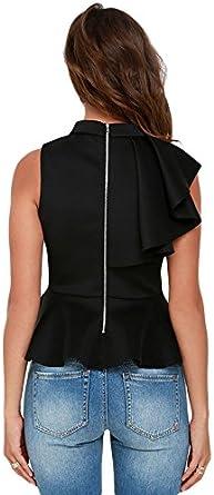 sleekwear Camisa de peplum con volantes asimétricos, color negro, tamaño pequeño, mediano y grande