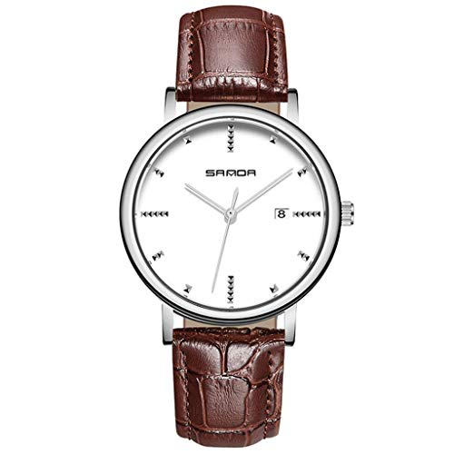 GleMFOX herenhorloge, kwarts, elegant, met kalender, casual, business, leren armband, cadeau voor mannen bandje #1