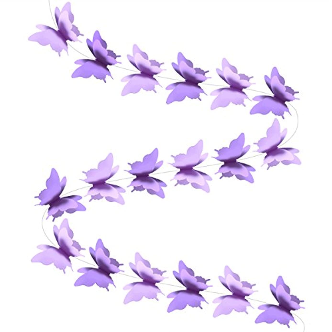 LUOEM Paper Garland Butterfly Banner 3D Butterfly Bunting Garland for Wedding Birthday Party Baby Shower (Purple)