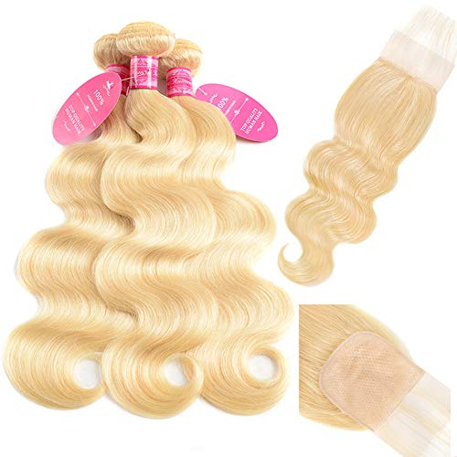 613 Blonde Bundles with Closure Body Wave Bundles with PU Silk Base Closure Weaves 4×4 Fake Scalp Closure with 3 Bundles 100% Brazilian Virgin Remy Human Hair 150% Density Free Part(10 12 14+10)
