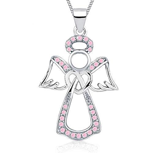 Schutzengel Herz Rosa Zirkonia Anhänger mit Halskette 925 Echt Silber Damen Mädchen 38-50cm Kette Engel Z56 (Silber/Rosa, 45)