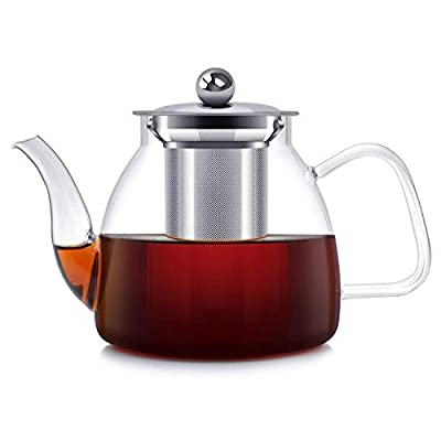 ESEOE Teapot, Glass Teapot with Infuser Loose Leaf Tea Pot, Stove Top Safe Glass Tea Kettle and Tea Strainer, Blooming/Flowering/Loose tea, 32 Ounce / 1000 ml