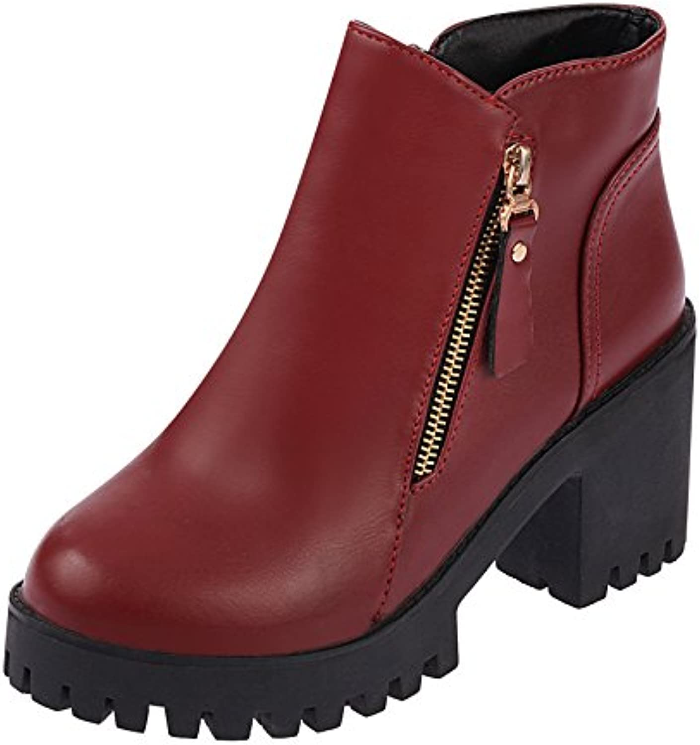 WYMBS Women's shoes Rough with Martin Boots Short Tube Student Short Boots,Wine Red,35