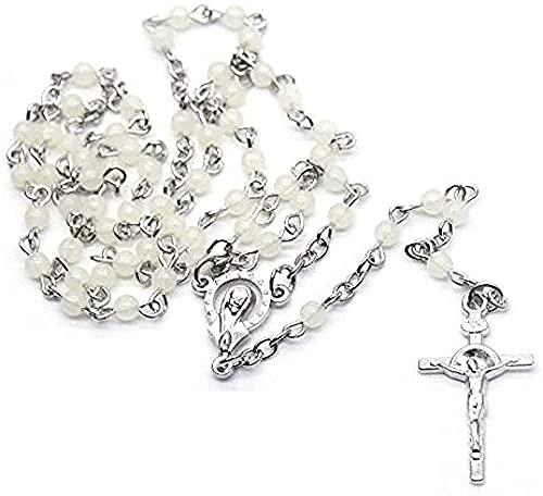 NC190 Collar de Rosario con pequeñas Cuentas de plástico, Collar con Colgante de Cruz Larga, Botella de joyería de oración Religiosa