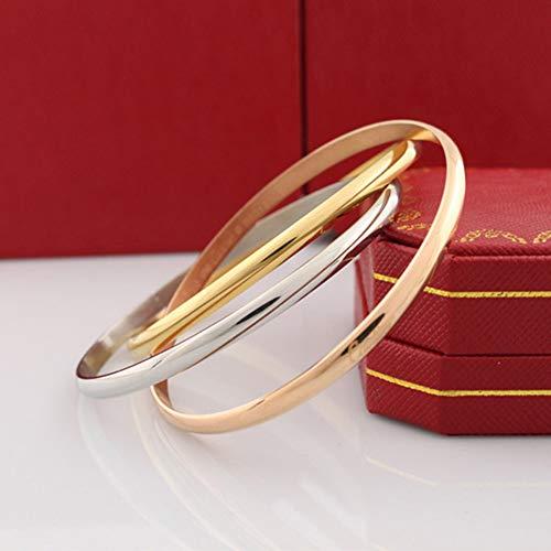 Lnyy Dreifarbiges Armband mit DREI Ringen aus Titanarmband mit runden Ringe