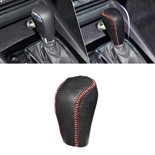 車用ギアシフトノブカバーレザー適合のMazda3 11-13アテンザ9月12日Mazda3のAT 2010アクセラ2010自動シフターヘッドブラック+レッド糸タイプH