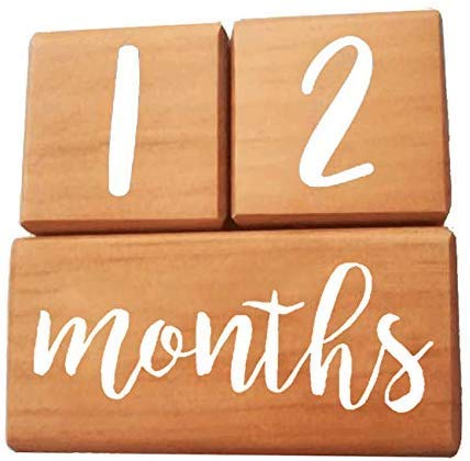Innovatony Trends Milestone Age Blocks for Newborn Babies, Infant, Toddlers, and Pets | New & Improved Wood Blocks | Small Round Corners & Eco-Friendly | Unique Shower Gift for New Mom