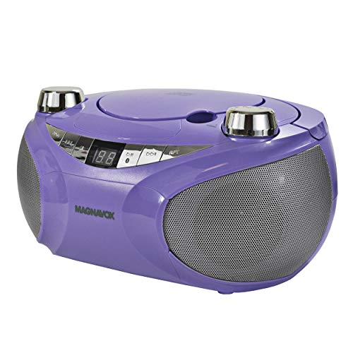 MAGNAVOX MD6949-PL Portable Top Loading CD Boombox with AM/FM Stereo Radio and Bluetooth Wireless Technology in Purple | CD-R/CD-RW Compatible | LED Display |