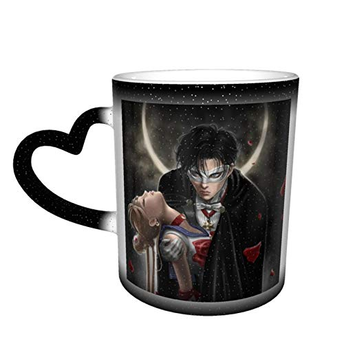 Marshall Darren Sailor Moon Ceramic Coffee Mugs, Heat Sensitive Color Changing Coffee Mug Milk Tea Cup Personalized Gifts for Family Lovers Friends (Black-Starry Sky)