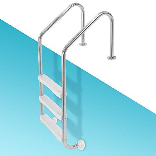 ECD Germany V2A Edelstahl Poolleiter mit 3 Stufen 63x54x147cm abgewinkelte Handläufe, Silber, Schwimmbadleiter mit Antirutschpads für Pool und Schwimmbecken, Edelstahlleiter Leiter mit Rutschsicherung