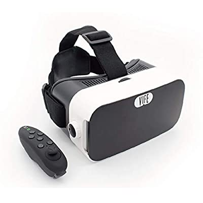 VIFE, Virtual Reality Headset,3D VR Glasses for Mobile Games and Video & Movies,with Bluetooth Remote Controller,Compatible 3.5-6 inch iPhone/Android Phone,Including iPhone,Samsung, LG,etc (White)