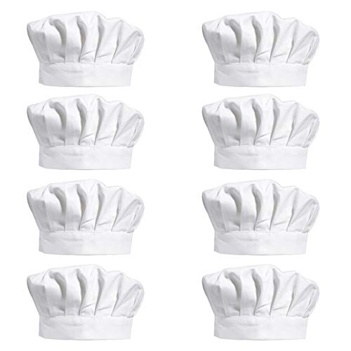 8 Pieces 8 Inch White Chef Hats, Adjustable Chef Toques Kitchen Chef Caps for Cooking, Baking, Party Favors, Home Kitchen and Restaurant