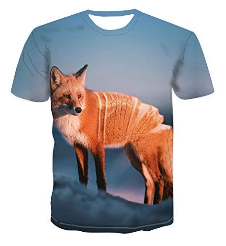 JJLESUN2 Tshirt Vetements, T-Shirt Unisexe à col Rond, Pas Cher, Streetwear, Animal Creative Pain Fox T-Shirt imprimé en 3D