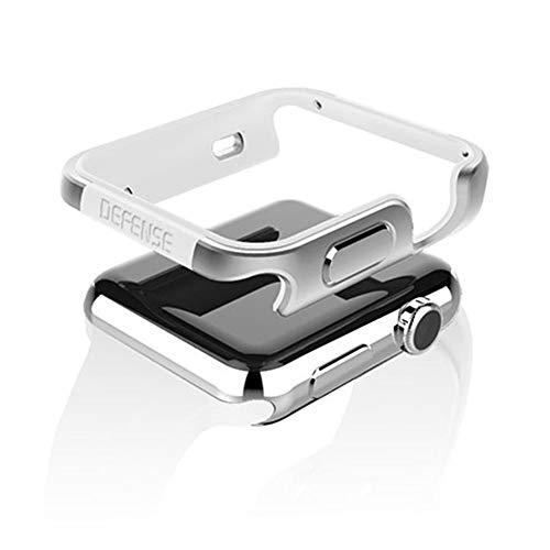 qichenlu [Defense Edge Silber&Grau CNC Eloxiertes Aluminium Rahmen Case für Apple Watch 44mm,Uhr Gehäuse Schutz Cover Stoßfest Metall Bumper Hülle kompatibel mit Apple Watch 44mm