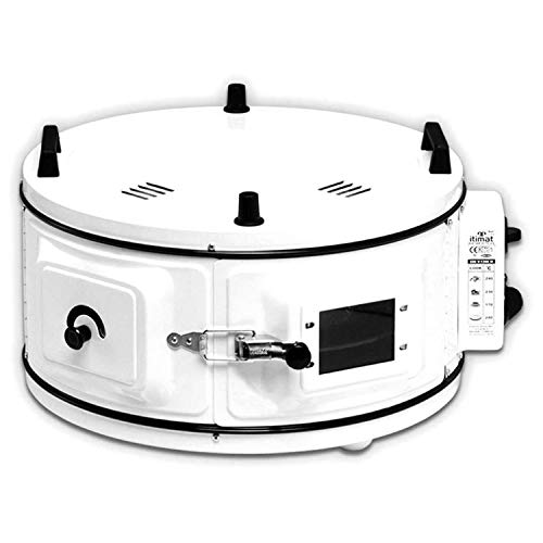 Mini Backofen Runder Ofen Fladenbäcker Standbackofen Pizzaofen mit Thermostat | Emailliert | 1300 W | 40 Liter | 50°-300°C | Weiß