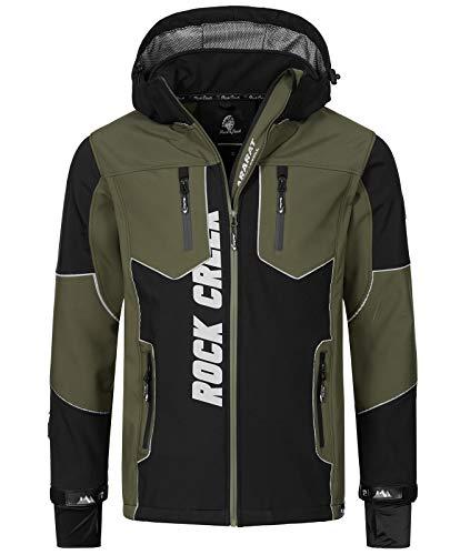 Rock Creek Herren Softshell Jacke Outdoor Jacke Windbreaker Übergangsjacke Anorak Kapuze Regenjacke Winterjacke Herrenjacke Jacket H-237 Schwarz 3XL