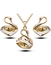 Classic Swan Pendant Crystal Necklace & Earrings Set - Swarovski Elements Jewelry Set
