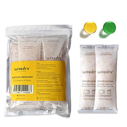 wisedry 112 Gramm [4 Packungen] Kieselgel Desiccant Packs für größere Container Desiccant Taschen mit Orange Anzeige Perlen für 3D Drucker Gun Kamera Elektronik Ausrüstung Lebensmittel Qualität