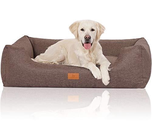 Knuffelwuff 14097-007 Hundebett Hundekörbchen Hundesofa Hundekissen Hundekorb Bezug Waschbar Lotte Xl Grau-Braun