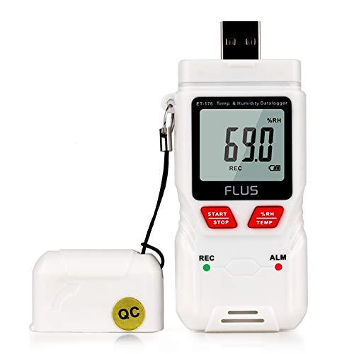 Dhmm123 Digital Feuchte-Temperatur-Datenlogger Thermometer Handdigital Berührungslos Mini Hygrometer LED High/Low Temperature Indicator ET-176 Spezifisch