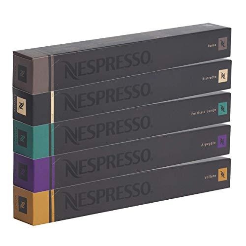 Nespresso, Kaffee-Sortiment mit 50 kompatiblen Originalkapseln: 10x Roma, 10x Ristretto, 10x Fortissio, 10x Arpeggio, 10x Volluto