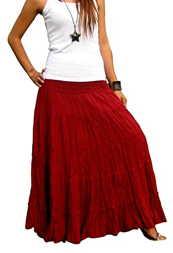 Women's Plus Size Long Maxi Pleated Skirt with Elastic Waist One Size Fits Most. Bordeaux