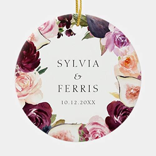 CiCiDi Elegant Plum Floral and Fig Wedding Photo Ceramic Ornament, Custom Name and Date