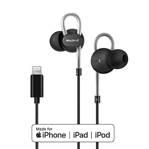 PALOVUE Auriculares Lightning magnéticos para Deportivo certificados MFi con Controlador de micrófono Cancelación de Ruido Compatible iPhone X/XR/XS/XS MAX/iPhone 8/P iPhone 7/P NeoflowColor (Negro)