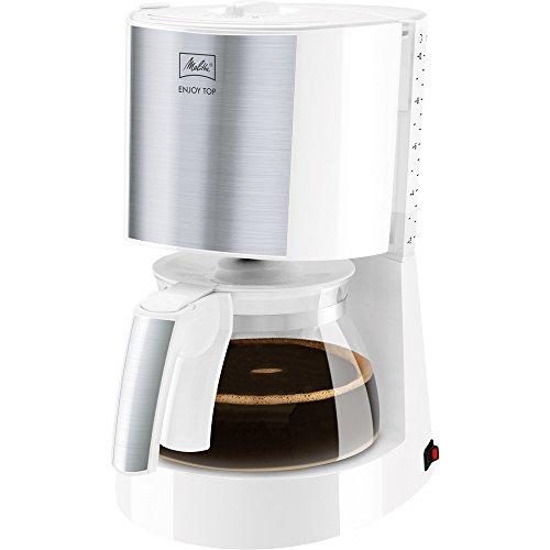 Melitta Enjoy Top 1017-03, Filterkaffeemaschine mit Glaskanne, AromaSelector, Weiß Filter-Kaffeemaschine, Edelstahl, 1.2 liters