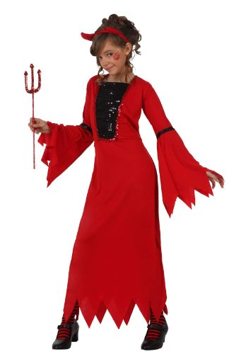 Atosa-10576 Costume-Déguisement Femme Démon 10-12, Fille, 10576, ROUGE, De 10 à 12 ans
