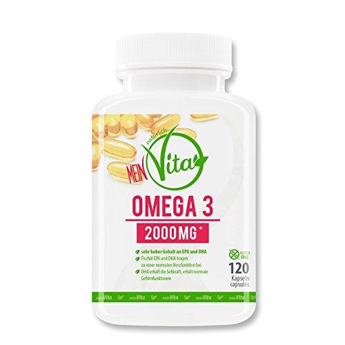 MeinVita Omega-3 - Kapseln 2000 mg - Tagesportion - hochdosiert, unterstützt Herz-Kreislaufsystem, Gelenke & Immunsystem, 1er Pack (1 x 66 g)