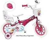 Vélo enfant 12 pouces filles princesse, 2 freins avec porte-poupée derrière + casque inclus