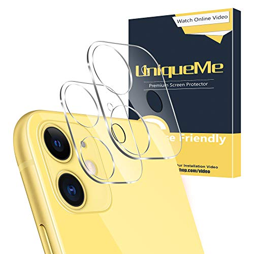 [ 2 Pack ] UniqueMe for iPhone 11 Camera Lens Protector Tempered Glass[New Version] Add Cameras Flash Circle