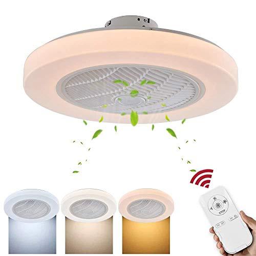 Deckenventilator mit Lampe und Fernbedienungslüfter mit 72-W-LED-Lichtern zur Einstellung der Windgeschwindigkeit und 3 Lichtfarbenschalter [Energieklasse A +]