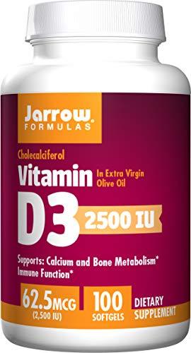Jarrow Formulas Vitamin D3, 2500 Iu - 100 Softgels 100 unidades 50 g