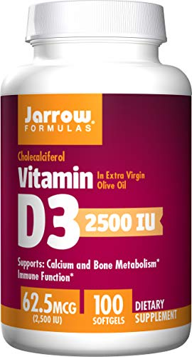 Jarrow Formulas Vitamin D3, 2500 IU, 100 Softgels, 1 Units