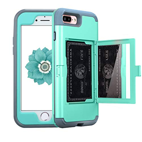 NOKEA Wallet Case Compatible with iPhone 7 Plus/8 Plus, Defender Wallet Design with Card Holder and Hidden Mirror Drop Protection Shockproof Armor Protective Shell for iPhone 7 Plus/8 Plus(Aqua)