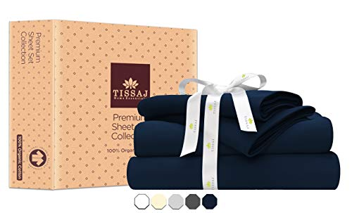 Tissaj Laken-Set Aus 100% Bio-Baumwolle - Zertifiziert - 1 Spannbetttuch, 1 Flachbetttuch Und Kissenbezüge Blau Single