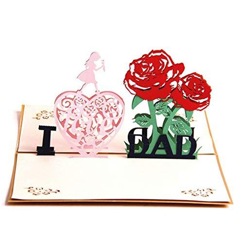 3D Pop Up Father's Day Grußkarten, Hukz Handgemachte Pop up Karte Greeting Cards Hochzeitskarten Geburtstagskarten Jubiläumskarten Einladungskarten Geschenk Karten