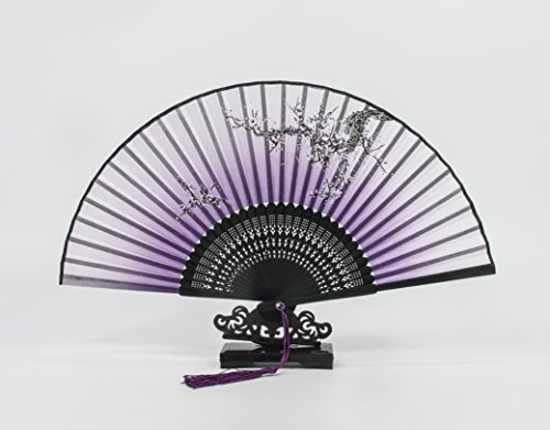 All In One Chinese/Japanese Vintage Retro Style Hand Held Folding Fan Bamboo Frame Butterfly Flower Pattern with Sleeve & Grift Box for Craft Home Party Event Decoration Grift (Purple-Sakura)