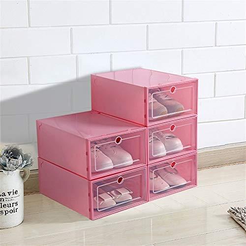 Zapatero de almacenamiento para decoración del hogar, 3 unidades, caja plegable de plástico transparente, apilable, organizador de zapatos, organizador visible para el hogar (color rojo)
