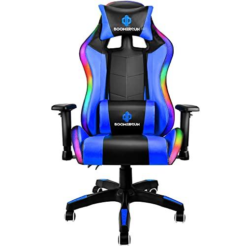 Boomersun Gaming Stuhl Racing Stuhl, Ergonomischer Bürostuhl Stuhl, Drehstuhl Racer Gamer Stuhl PC Stuhl, mit Wippfunktion, Einstellbarer Neigungswinkel, Einstellbare Armlehne (Blau, Mit LED-Licht)