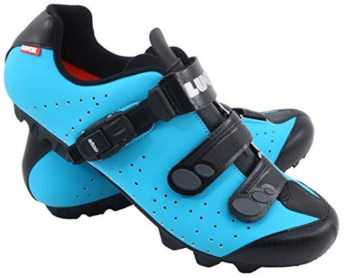 LUCK Zapatillas de Ciclismo MTB ODÍN con Suela de Carbono y Cierre milimétrico de precisión. (42 EU, Azul)